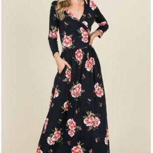 3/4 sleeves long floral dress